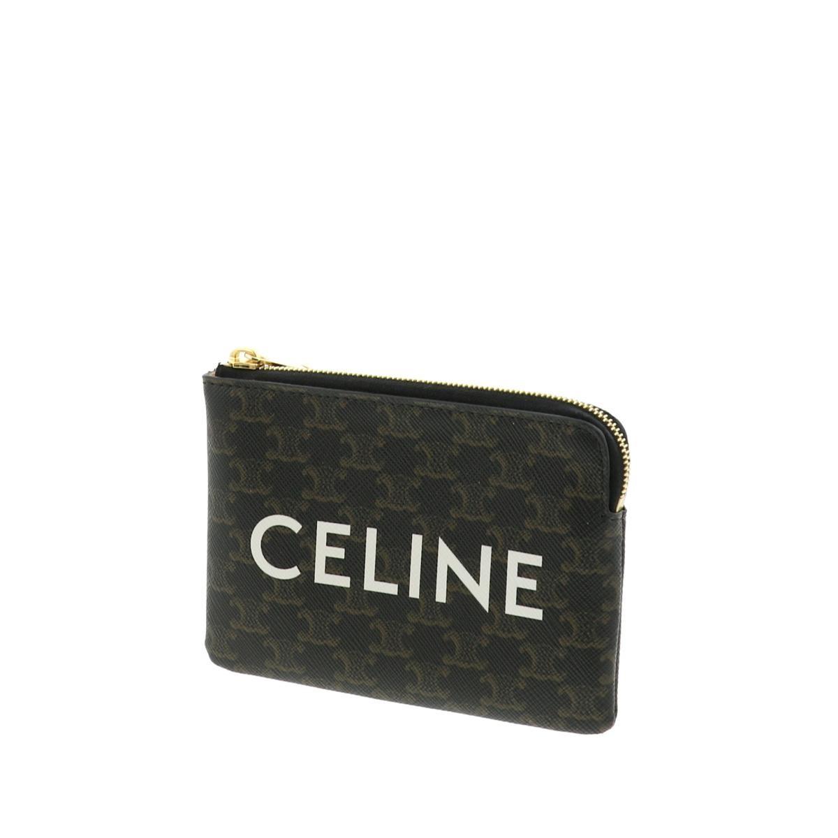【中古】CELINE セリーヌ コインケース 財布 小銭入れ/コインケース トリオンフ Brown/ブラウン ロゴ  used:A