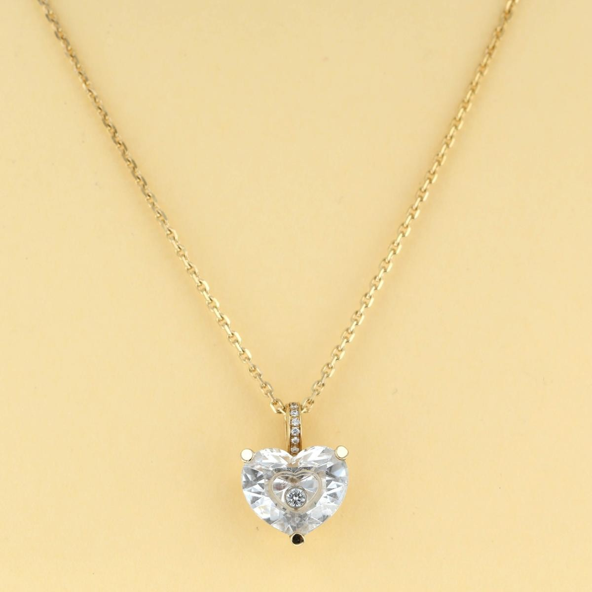 【中古】Chopard (ショパール) ソーハッピーダイヤモンドネックレス 750YG ブランドジュエリー ネックレス/ペンダント/チョーカー happydiamond Yellow Gold/イエローゴールド 79/6740/06 used:A