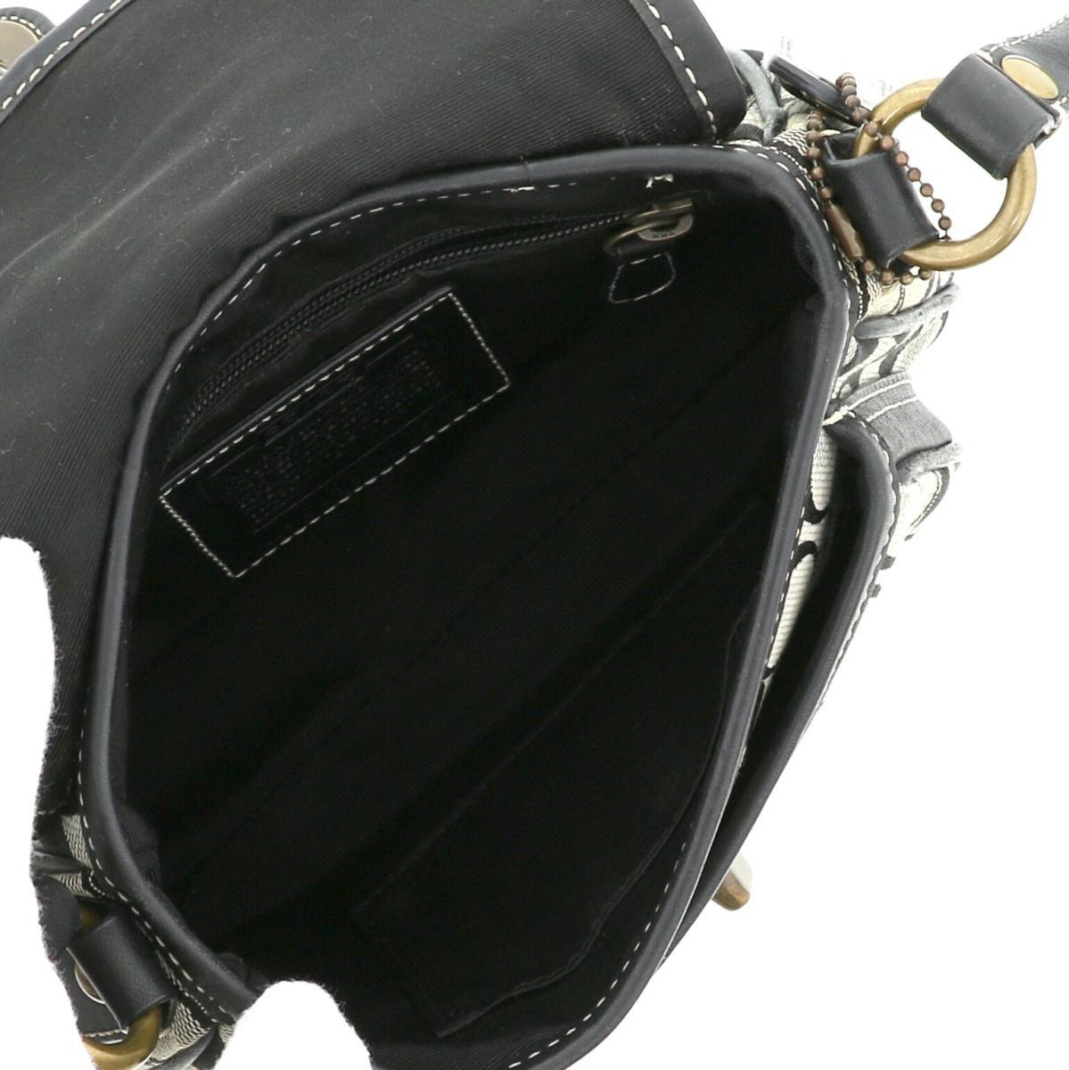【最終値下げ品】【中古】COACH コーチ シグネチャー クリケット バッグ ショルダー/メッセンジャーバッグ Signature Black/ブラック 10566 used:B