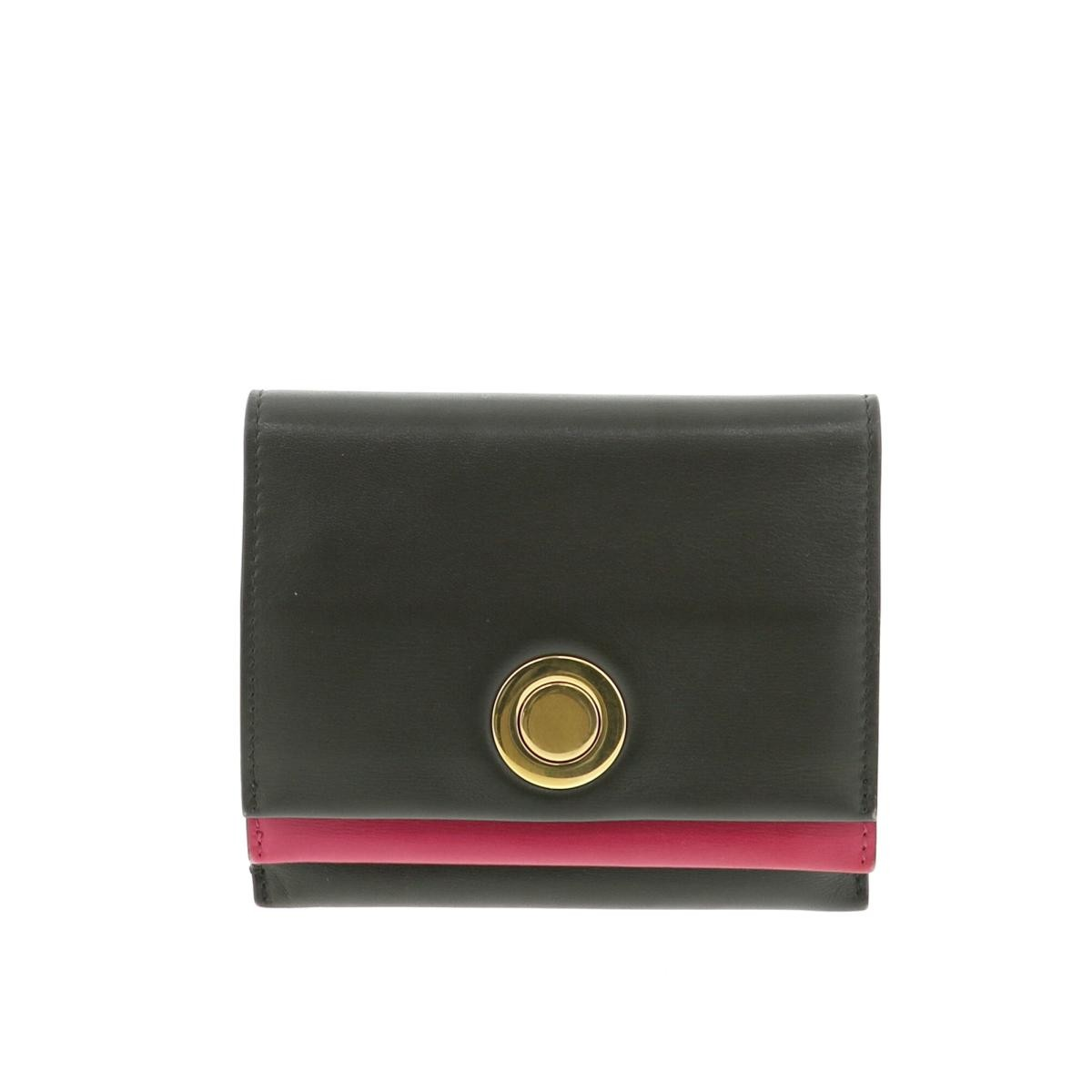 【中古】CELINE セリーヌ 二つ折り財布 財布 二つ折り財布(小銭入有)  カードケース コインケース Khaki/カーキ ピンク  used:B