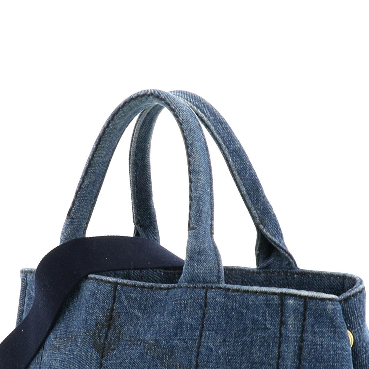 【中古】PRADA プラダ カナパ ミニ 2WAY ショッピングバッグ バッグ ハンドバッグ DENIM デニム Blue/ブルー 1BG439 used:B
