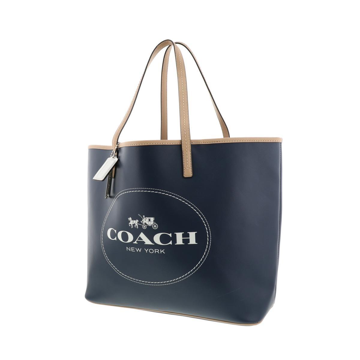 【中古】COACH コーチ メトロ トートバッグ バッグ トートバッグ  Navy/ネイビー ベージュ ロゴ F31315 used:B