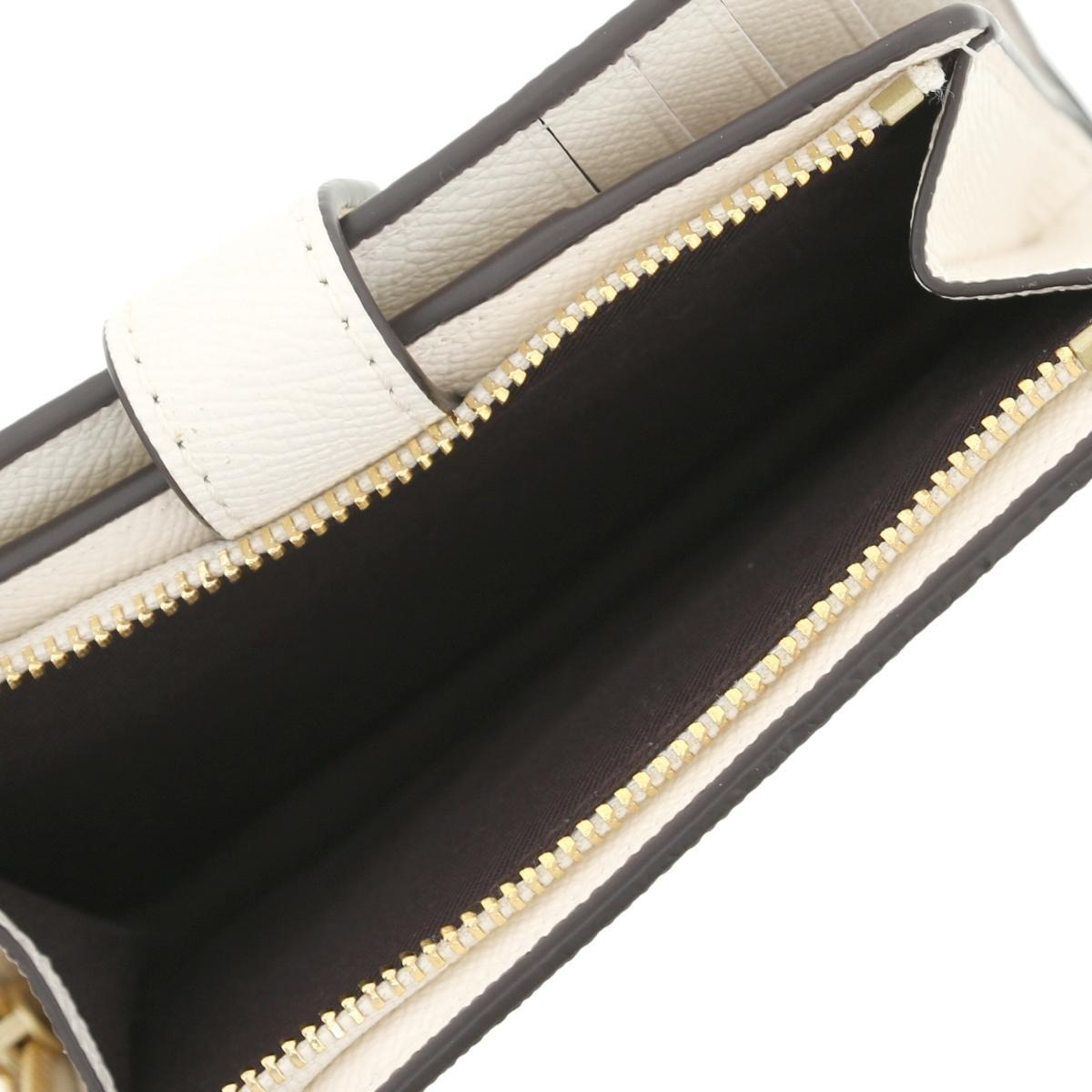 【SALE】【中古】 COACH コーチ L字ファスナー コンパクト財布 財布 二つ折り財布(小銭入有)  IMCHK チョーク ホワイト ミニウォレット  F11484 unused:S