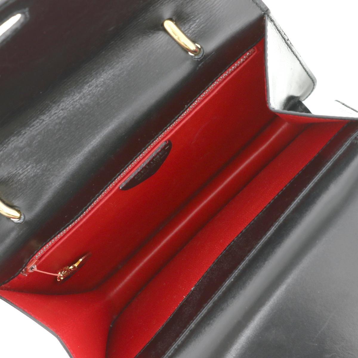 【中古】CELINE セリーヌ ダブルフラップヴィンテージ ハンドバッグ バッグ ハンドバッグ  Black/ブラック ゴールド オールドセリーヌ  used:B