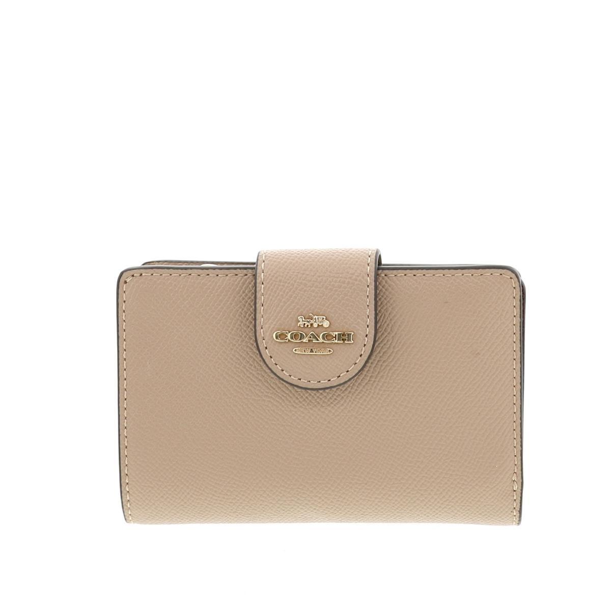 【中古】 COACH (コーチ) 二つ折り財布 財布 二つ折り財布(小銭入有)  Beige F06390 unused:S
