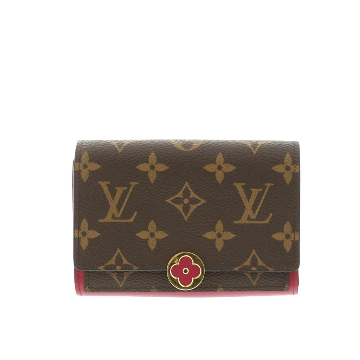 【中古】LOUIS VUITTON (ルイヴィトン) ポルトフォイユ・フロールコンパクト 財布 二つ折り財布(小銭入有) MonogramCanvas/Coquelicot Brown/ブラウン M64587 used:B