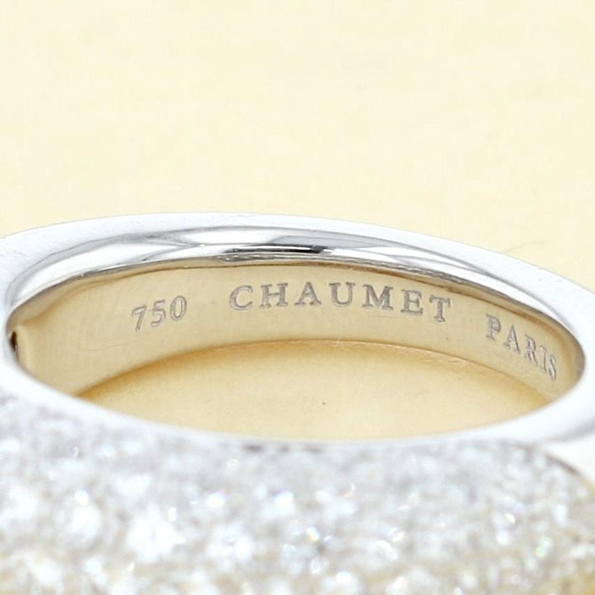 【最終値下げ】ショーメ K18WG アノー キャビア パヴェ ダイヤモンドリング ブランドジュエリー 指輪 CHAUMET K18 Yellow Gold Caviar Anneau Diamo