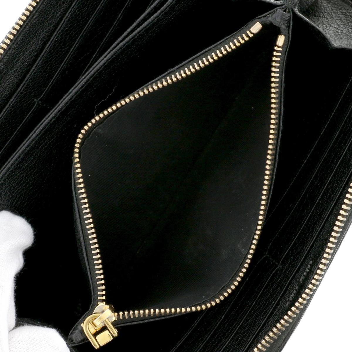 【中古】MIUMIU ミュウミュウ ラウンドファスナー 長財布 財布 長財布(小銭入有) LONG-WALLET Black/ブラック リボン 5ML506 used:B