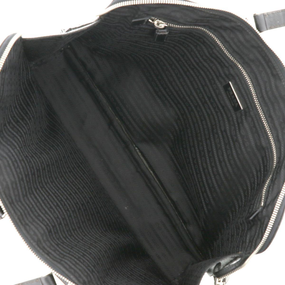 【中古】 PRADA (プラダ) サフィアーノ レザー ブリーフケース バッグ ビジネスバッグ/ブリーフケース  Black VR0023 used:C
