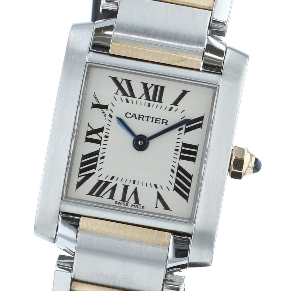 【中古】Cartier (カルティエ) タンクフランセーズSM 時計 クオーツ/レディース Tank Francaise White/ホワイト W51007Q4 used:A