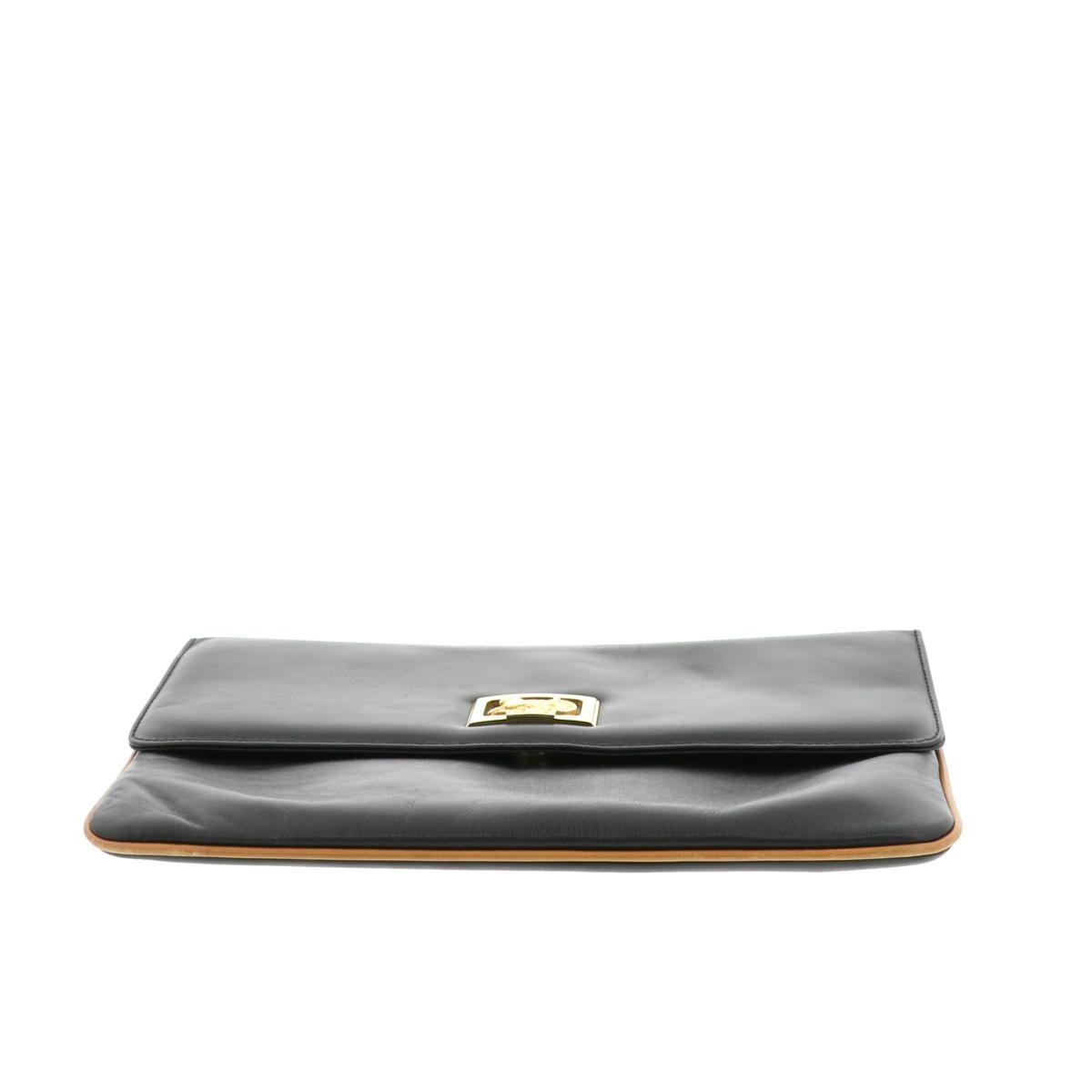 【中古】セリーヌ 馬車クラッチバッグ セカンドバッグ/ポーチ/クラッチ 黒 CELINE Clutch bag Black