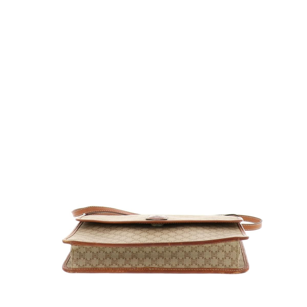 【中古】セリーヌ マカダム ショルダーバッグ ベージュ CELINE Macadam Shoulder Bag Beige