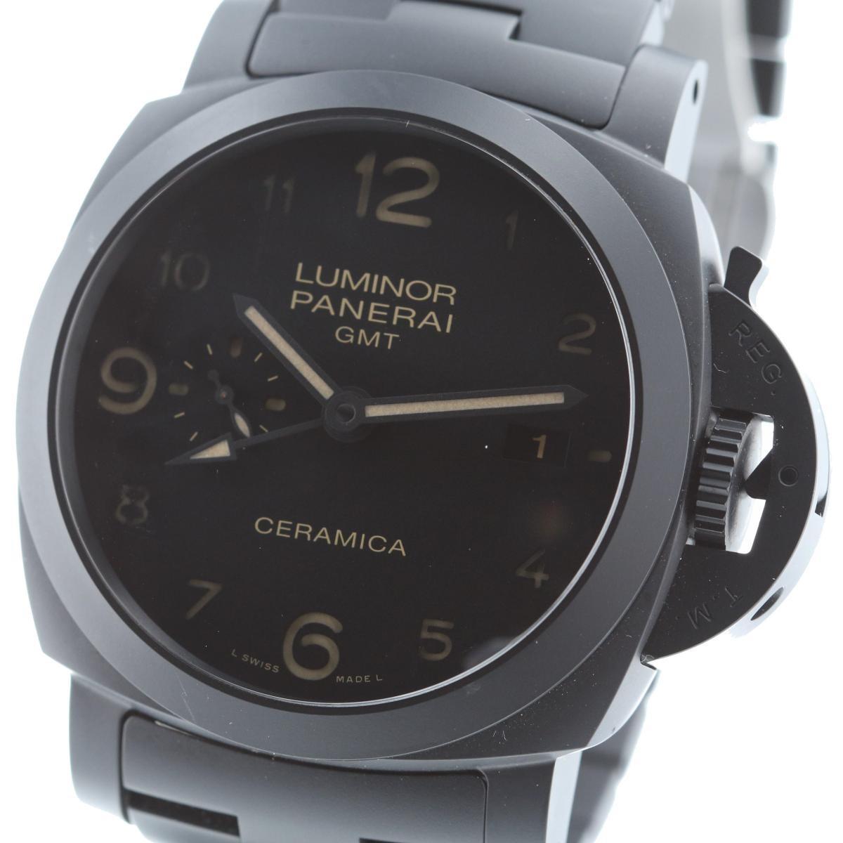 【最終値下げ品】【中古】 PANERAI (パネライ) トゥットネロ ルミノール 1950 3デイズ GMT セラミック 時計 自動巻き/メンズ LUMINOR Black PAM00438 used:B