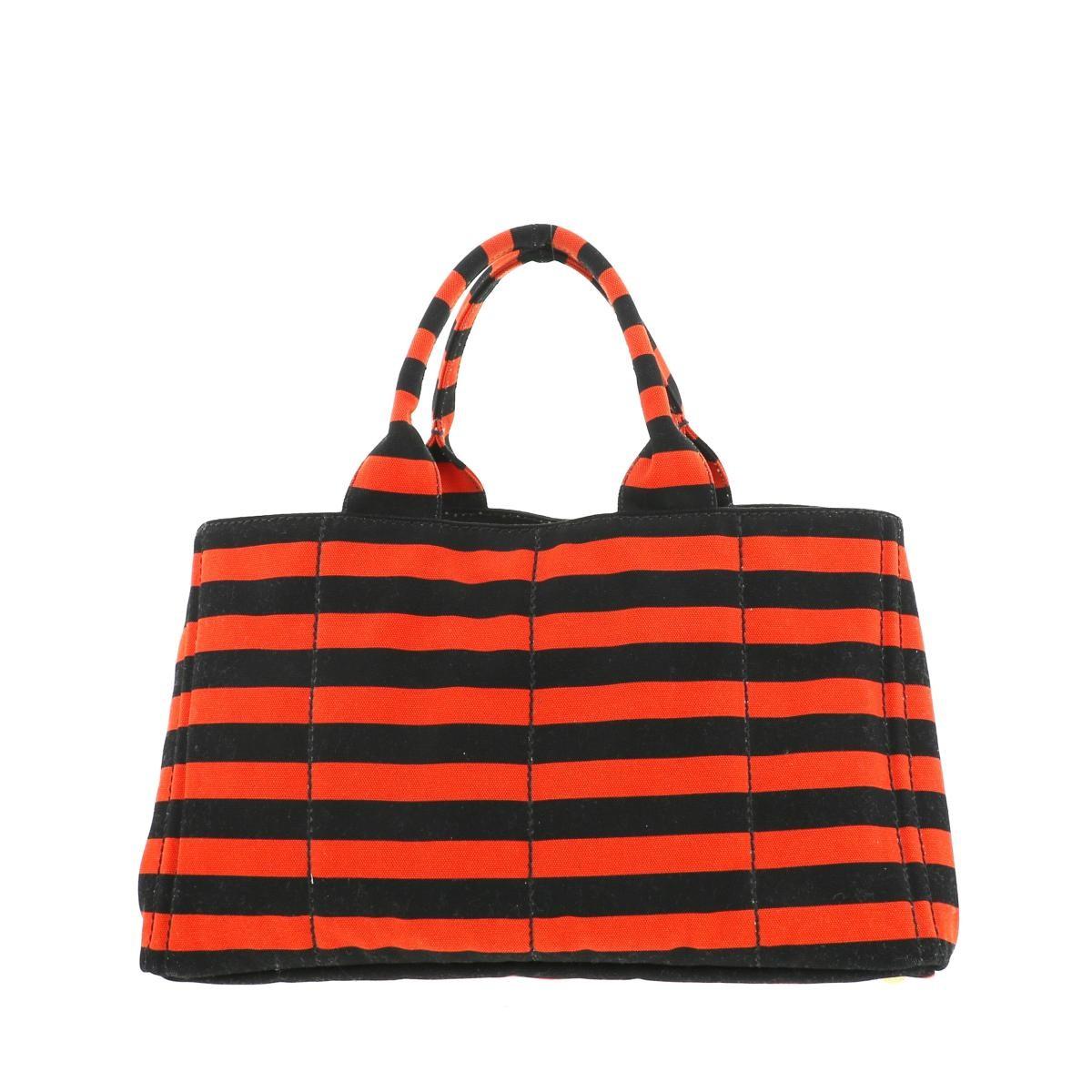 【SALE】【中古】 PRADA プラダ カナパ ロゴ ショッピング トートバッグ バッグ ハンドバッグ  Orange/オレンジ ブラック ボーダー B1872B used:A