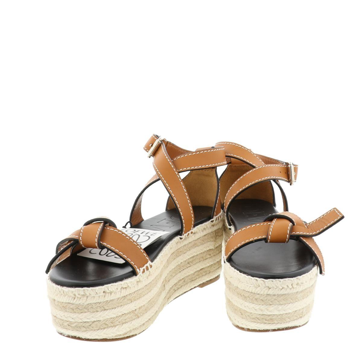 【最終処分セール】【中古】【24.5cm】LOEWE (ロエベ) Gate Wedge Espadrille サンダル 靴 靴/レディース  Brown/ブラウン 453.10.355 used:A