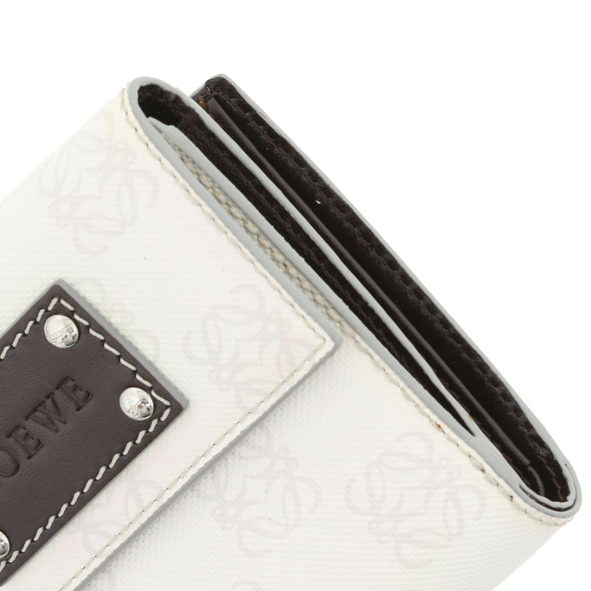 【中古】LOEWE (ロエベ) Wホック 二つ折り財布 財布 二つ折り財布(小銭入有)  White/ホワイト  used:B