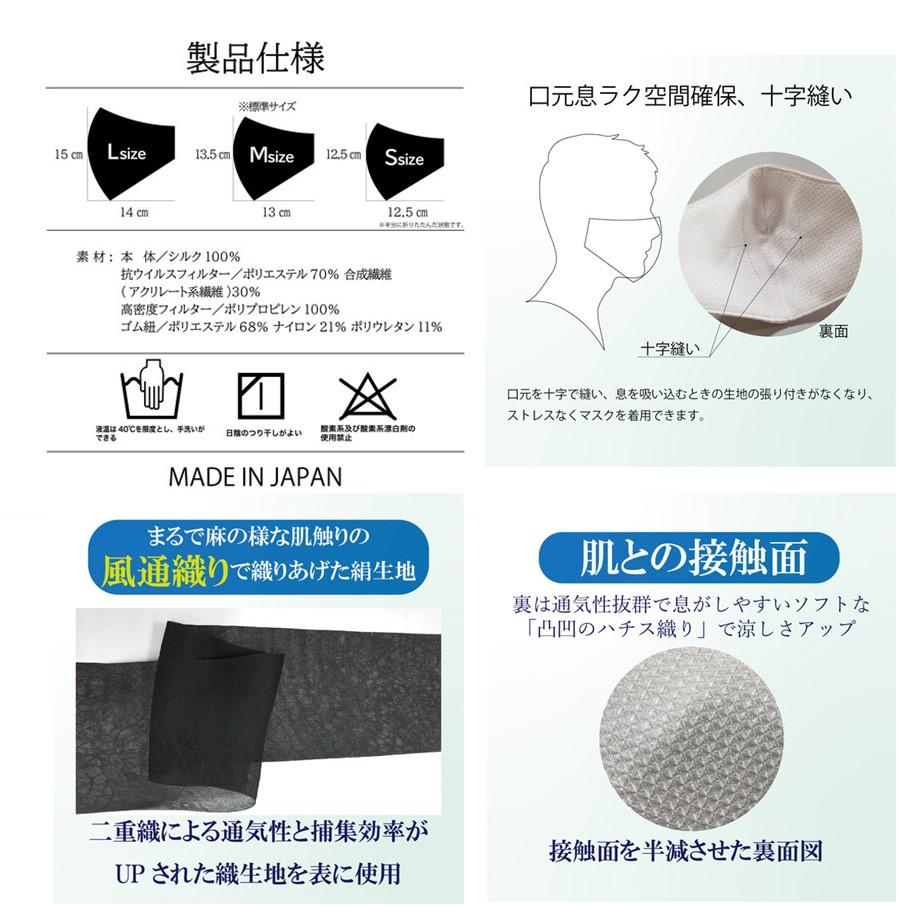 【涼しさ最高レベル!冷感マスク!】Wワイヤースリム立体型シルクールマスク(3サイズ&&10カラーからお選びください)【シルク100%!保湿・消臭・ウィルス&UVカット機能!】