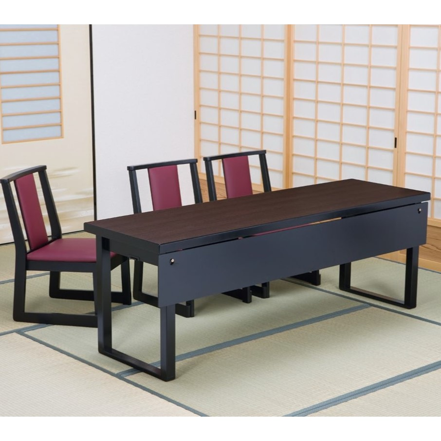 高級和風テーブル 3人膳 180×45×H60/H32.5cm (8本脚タイプ)