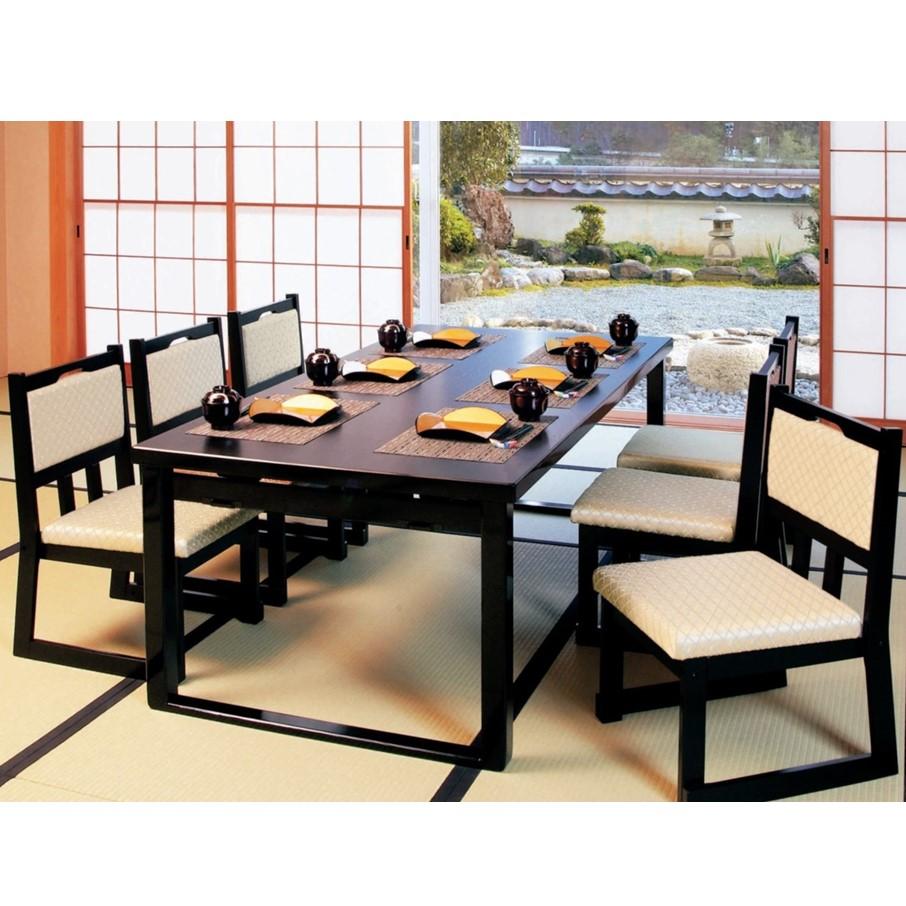 高級和風テーブル 6人膳 180×90×H70/H32.5cm (8本脚タイプ)