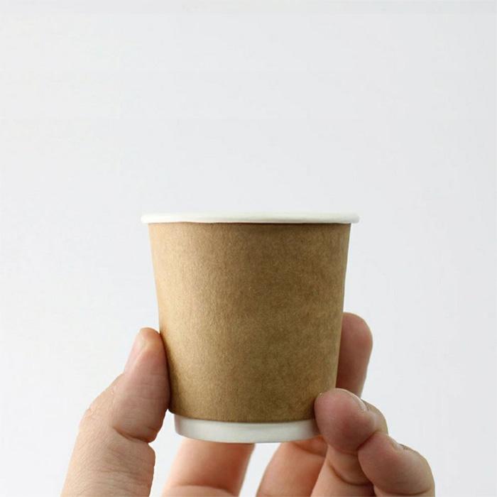 【プラカップ・紙コップ】テイクアウト 使い捨てカップ コーヒーカップ クラフト紙コップ 二重断熱カップ 4オンス1000個 試飲・エスプレッソ用