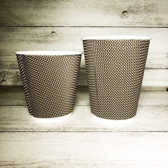 【プラカップ・紙コップ】テイクアウト 使い捨てカップ コーヒーカップ 紙コップ ゼブラ二重断熱カップ9oz 【1000個入り】 凹凸加工 波型加工