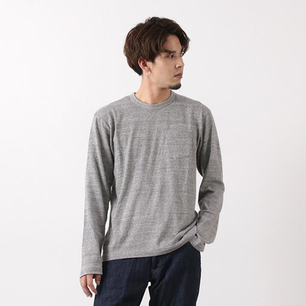 BARNS(バーンズ) 吊り編み 天竺 ループウィール クルーネック Tシャツ / ポケット / 長袖 / 無地 / メンズ / 日本製