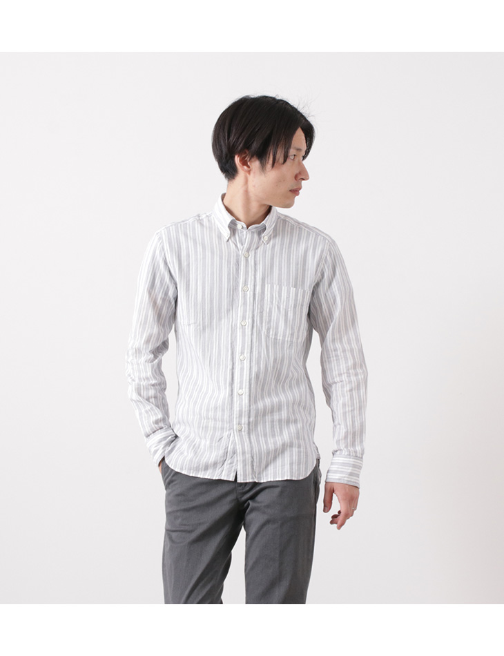 ROCOCO(ロココ) ドビーストライプ ボタンダウンシャツ / スタンダードフィット / メンズ / 長袖 / 日本製