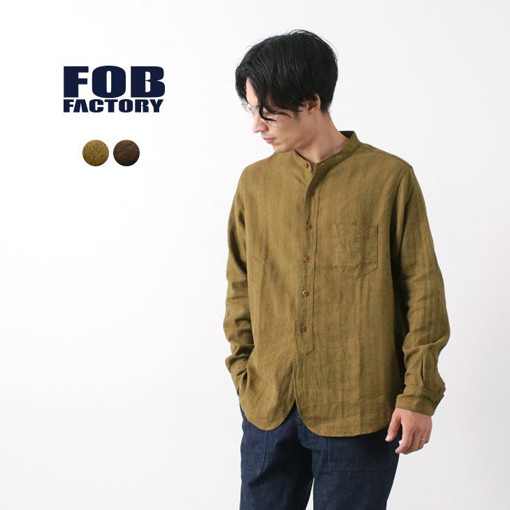 FOB FACTORY(FOBファクトリー) F3454 リネンコットン バンドカラー シャツ / メンズ / ヘリンボーン / 長袖 / 日本製 / 麻 綿 / BAND COLLAR SHIRT