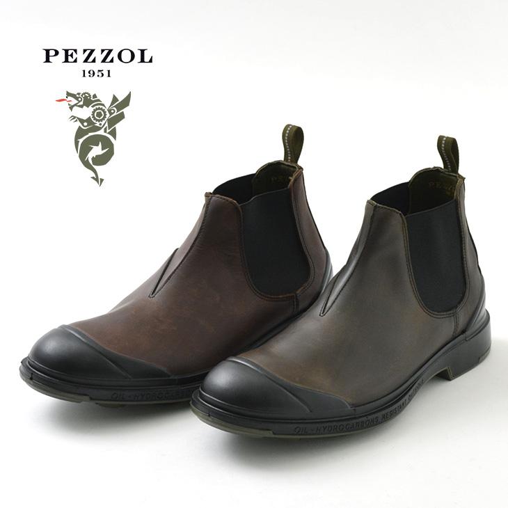 PEZZOL(ペッツォール) ディフェンダー チェルシーブーツ 耐水性 フルグレインレザー アッパー ラバー トゥキャップ / サイドゴア / ワーク / 革靴 / メンズ / イタリア製 / DEFENDER-CHELSEA