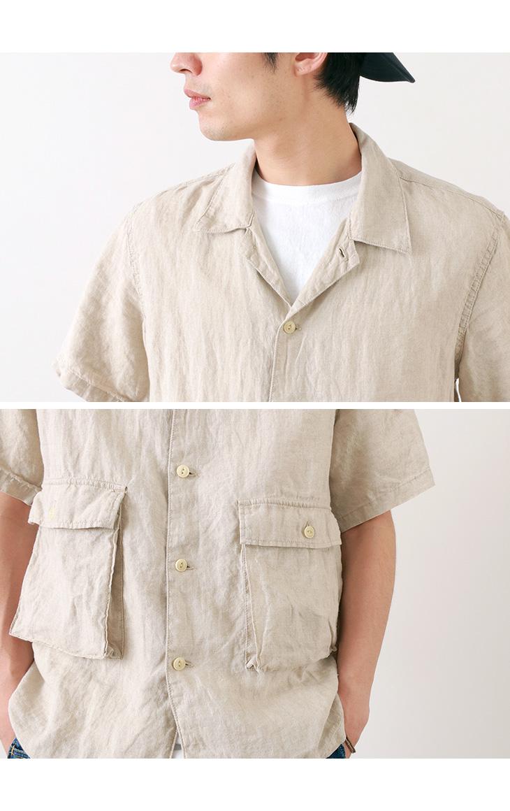 【30%OFF】REMI RELIEF(レミレリーフ) リネン ビッグポケット 半袖 シャツ / 無地 / メンズ / 日本製【セール】