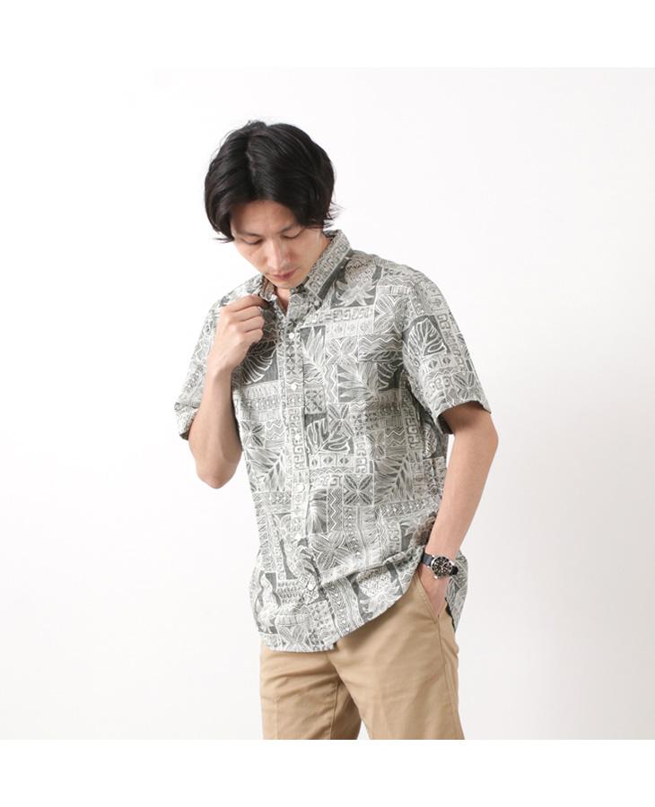 HARRISS(ハリス)ハワイアン ボタンダウンシャツ (パイナップル) / メンズ / アロハシャツ / 半袖 コットン / アメリカ製 / ハワイ製 / HAWAIIAN B.D.SHIRT