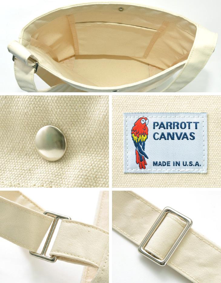 【期間限定!クーポンで10%OFF】PARROTT CANVAS(パロットキャンバス) キャンバス ショルダーバッグ / アメリカ製 / メンズ レディース / CANVAS SHOULDER BAG
