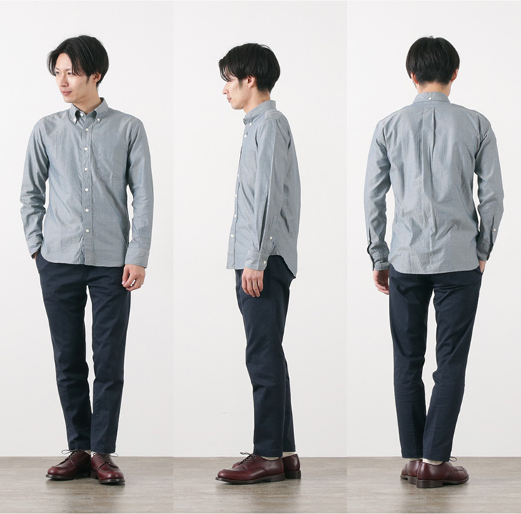 【30%OFF】ROCOCO(ロココ) ドビーヘリンボン ボタンダウンシャツ / スタンダードフィット / メンズ / 長袖 / 日本製【セール】