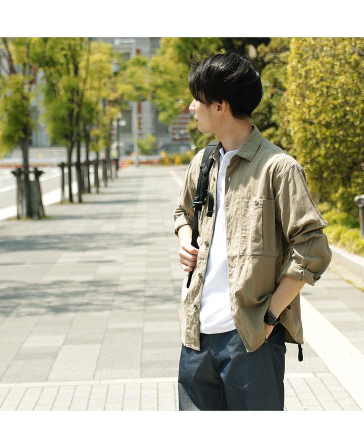 【20%OFF】ROCOCO(ロココ) サファリシャツ / コットン / 和紙 / メンズ / 長袖 / 日本製【セール】
