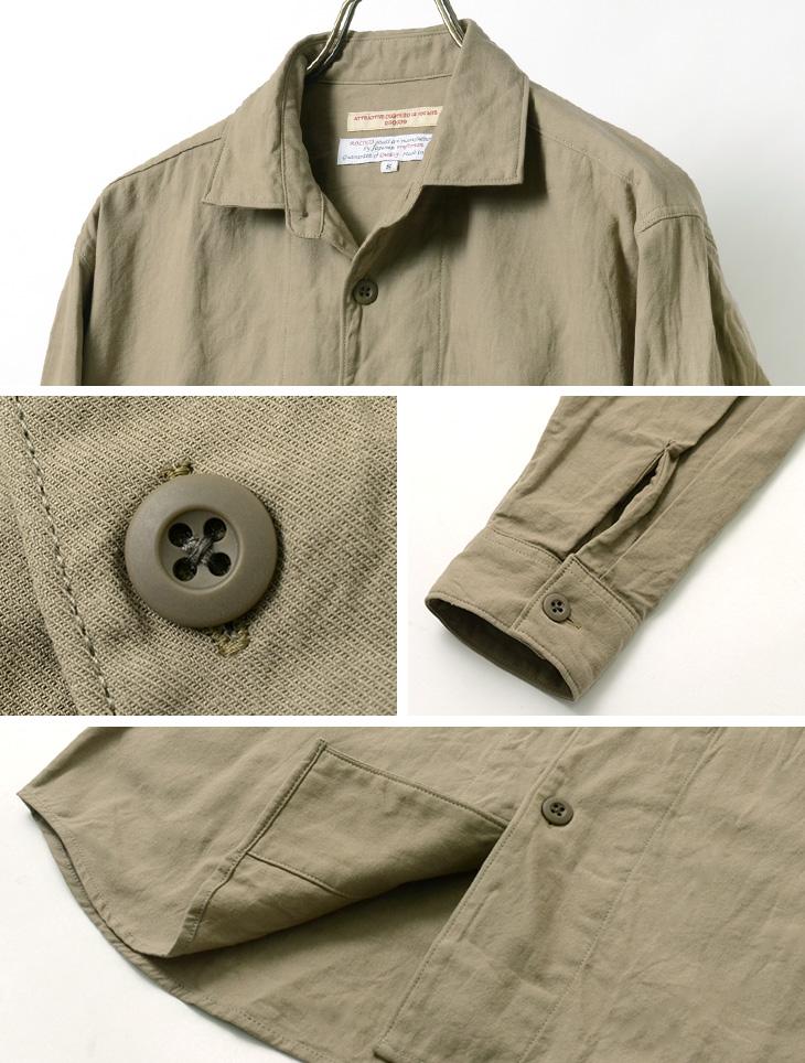 ROCOCO(ロココ) サファリシャツ / コットン / 和紙 / メンズ / 長袖 / 日本製