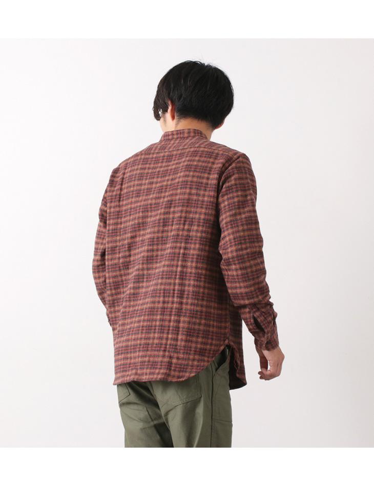 FOB FACTORY (FOBファクトリー) F3455 ツイード バンドカラーシャツ / メンズ / チェック / 長袖 / コットン / 日本製 / TWEED BAND COLLAR SHIRT