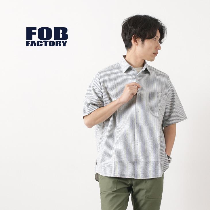 FOB FACTORY(FOBファクトリー) F3448 ハーフスリーブ ストライプ ボールシャツ / コットン / シアサッカー / 半袖 / メンズ / 日本製 / H/S STRIPE BALL SHIR