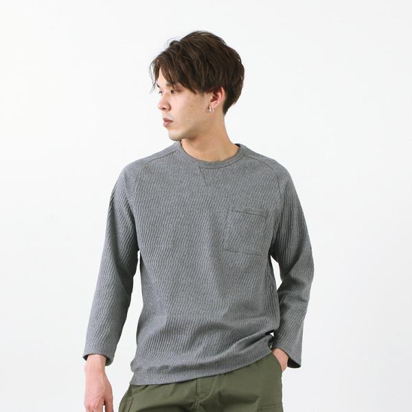 RE MADE IN TOKYO JAPAN(アールイー) リンクス パターン クルーニット / メンズ / リンクス編み / コットン / 9分袖 / 無地 / クルーネック / LINKS PATTERN CREW KNIT / 7518S-CT