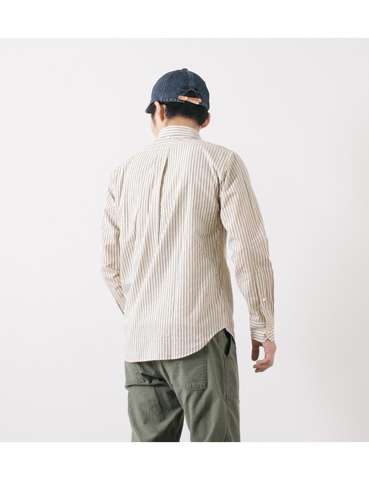 ROCOCO(ロココ) 綿麻ストライプ ボタンダウンシャツ / アメリカンフィット / マルチストライプ / メンズ / 長袖 / 日本製