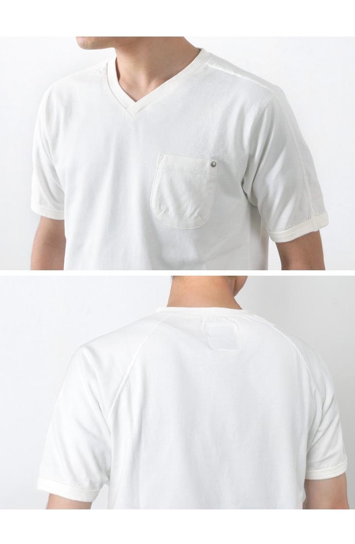 RE MADE IN TOKYO JAPAN(アールイー) スプリット ラグラン ポケット Vネック Tシャツ / 半袖 無地 / メンズ / 日本製 / SPLIT RAGLAN POCKET V-NECK T-SHIRT