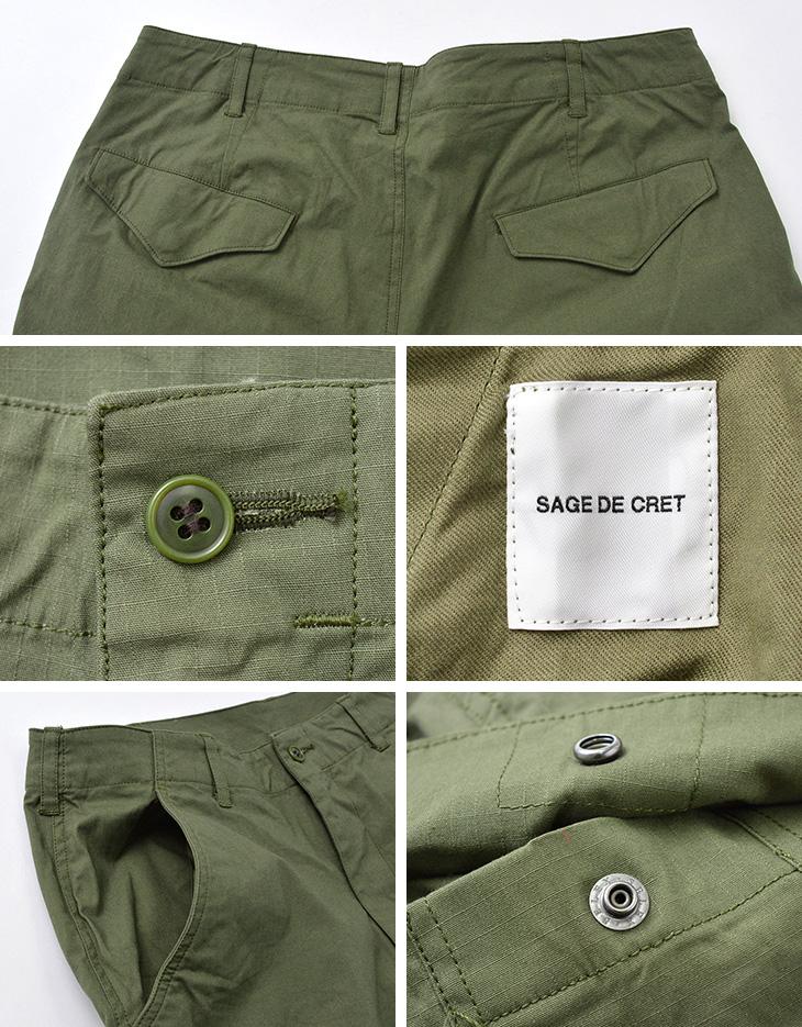 SAGE DE CRET(サージュデクレ) 別注 テーパードカーゴパンツ/リップストップストレッチ / メンズ / 日本製