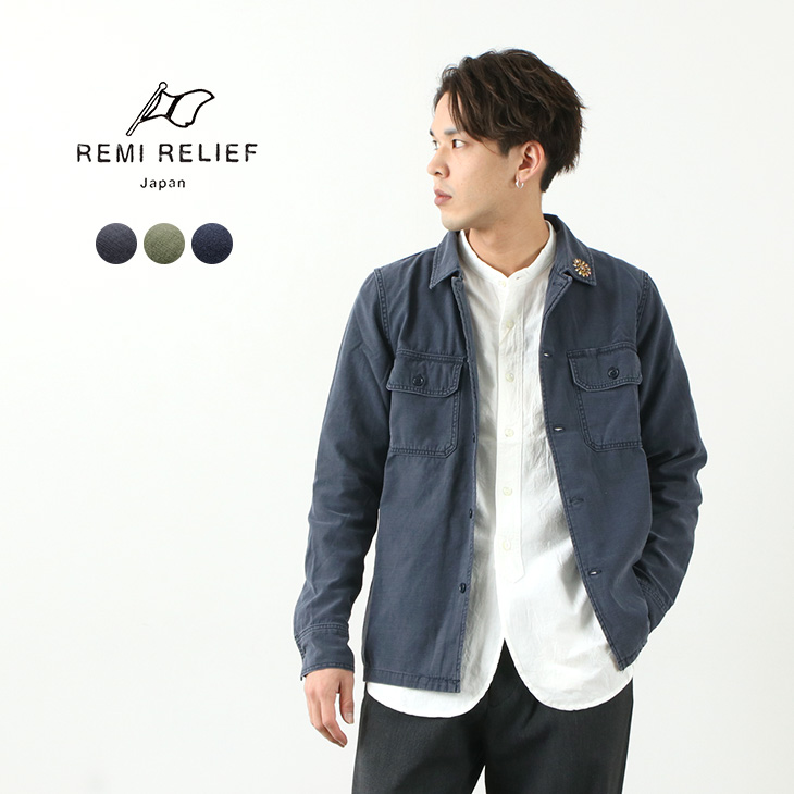 REMI RELIEF(レミレリーフ) ミリタリーシャツ(花スタッズ) / ファティーグシャツ / ミリタリージャケット / メンズ / 長袖 / 日本製 / MILITARY SHIRT / liou