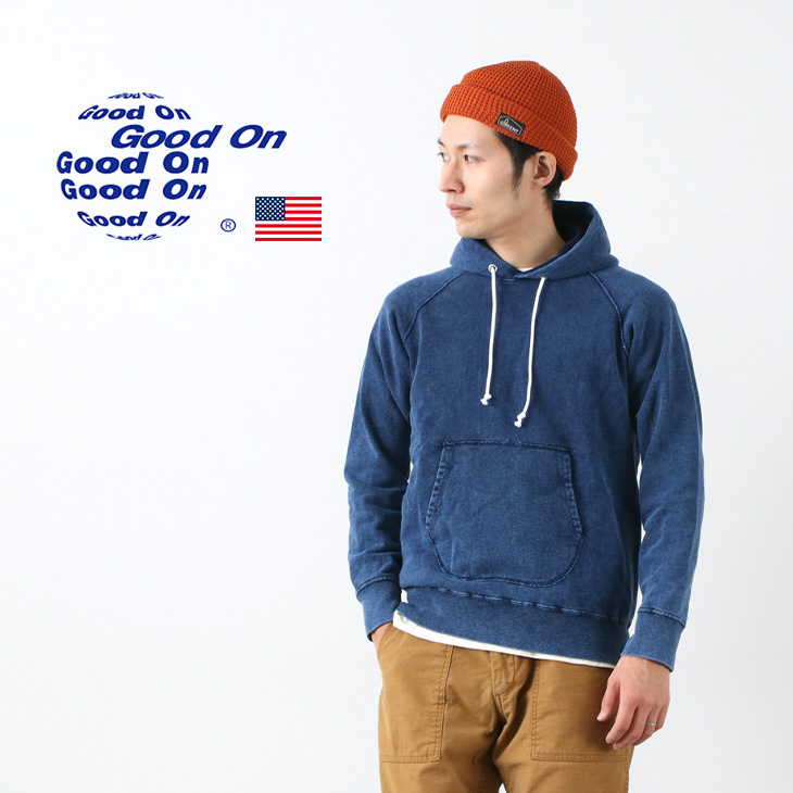 GOOD ON(グッドオン) インディゴ ラグラン プルオーバー フードスウェット / パーカー / アメリカ製生地 / 日本製 / メンズ / GOBW1203IS