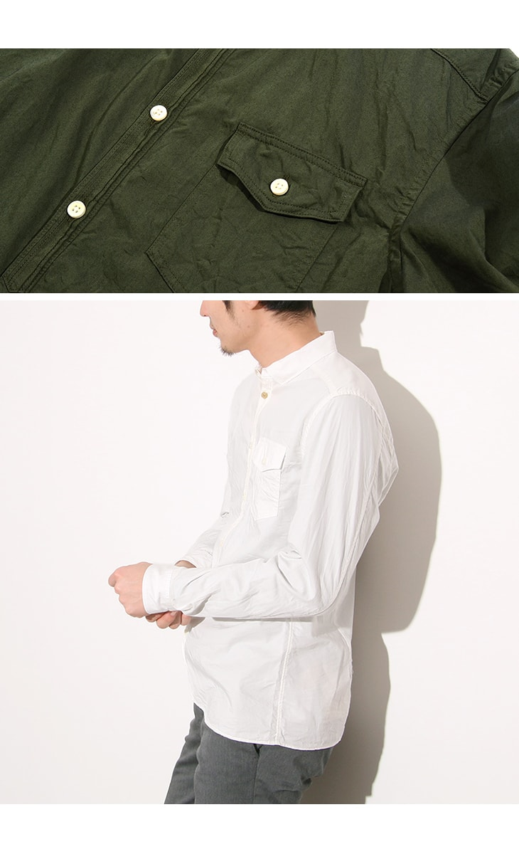【20%OFF】RE MADE IN TOKYO JAPAN(アールイー) ギザツイル ラウンド ヘムシャツ / コットン / 長袖 / メンズ / 日本製 / GIZA TWILL ROUND HEM SHIRT【セール】