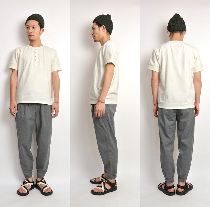 【期間限定!クーポンで10%OFF】RE MADE IN TOKYO JAPAN(アールイー) ヘビーオンス コットン ヘンリーネック Tシャツ / メンズ / 無地 半袖 / 日本製 / HAEVY OZ COTTON HENLEY NECK TEE
