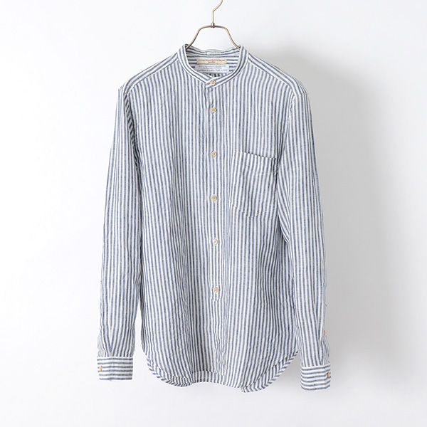 【20%OFF】ROCOCO(ロココ) リネン ストライプ バンドカラーシャツ / アメリカンフィット / 長袖 / メンズ / 日本製【セール】