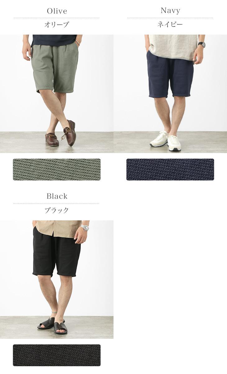 RE MADE IN TOKYO JAPAN(アールイー) コットンジャージー タック ハーフパンツ / メンズ / ショートパンツ / イージーパンツ / ストレッチ 伸縮 / 日本製 / 7121S-BT / COTTON JERSEY TUCK HALF PTS