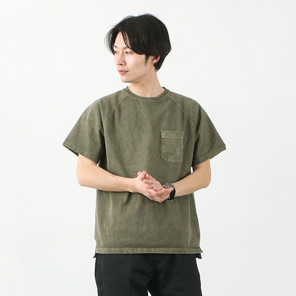 GOOD ON(グッドオン) ラグラン ヘビー ポケット Tシャツ ショートスリーブ / 半袖  無地 / 9オンス / メンズ / ピグメントダイ / アメリカ製生地 / 日本製 / GOST-1101