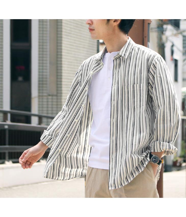 ROCOCO(ロココ) セルビッチ ストライプ ワイドシャツ レギュラーカラー / ルーズフィット / メンズ / 長袖 / 日本製