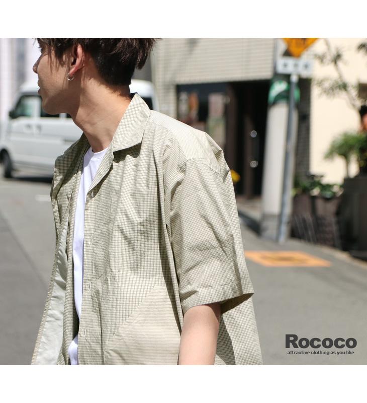 ROCOCO(ロココ) コンビ レギュラーカラー ハーフスリーブ シャツ / ルーズ フィット / チェック ストライプ / 半袖 / メンズ / 日本製 / COMBI REGULAR COLLAR H/S SHIRT